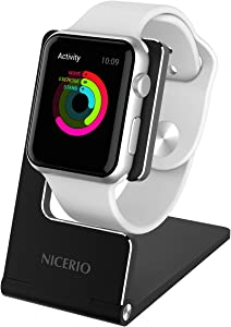 NICERIO Apple Watch Stand Holder -Aluminum Charging Dock iWatch Holder with Anti Slip Silicone Base and Protection Ring for Apple Watch Series 1/2/3 Sport Edition (38mm/42mm Version)