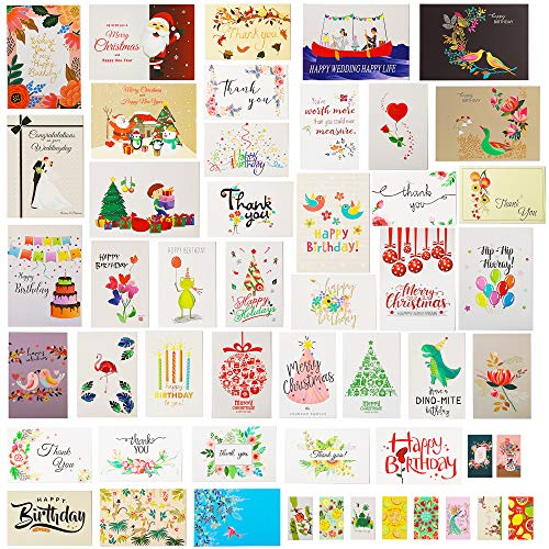 60 Holiday Special Day Greeting Cards/Postcards -Thank You Cards,Birthday Cards,Love Sympathy Baby Shower,Christmas Cards,Single Panel Cards,All Occasion Blank Note Cards with 52 Envelopes (3 Sizes)