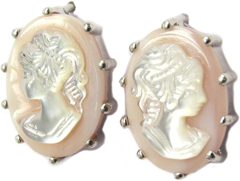 Les Trésors De Lily [P4065] - Pendientes artesanales plata 'Divine Camee' plata rosa - 15x10 mm.