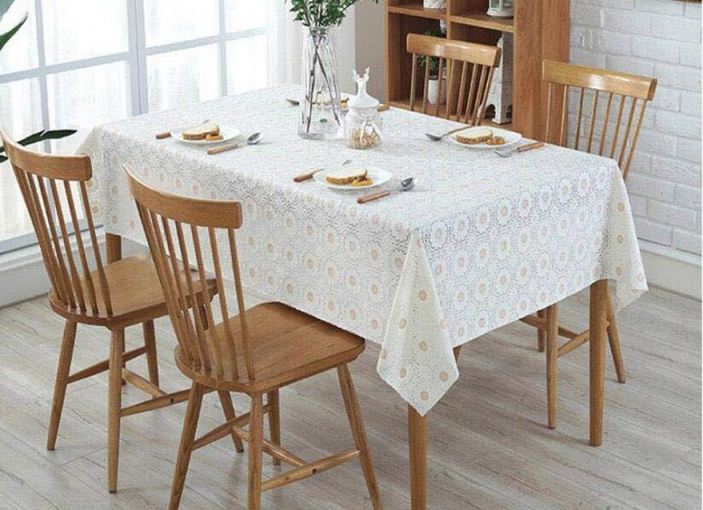 WJJYTX tischdecke Plastik, Square Wipe Clean Tischdecke Rechteckiges wasserdichtes Vinyl für die Gartenküche Europäische Bedruckte Tischmatte im Außen- oder Innenbereich @ 135 * 180