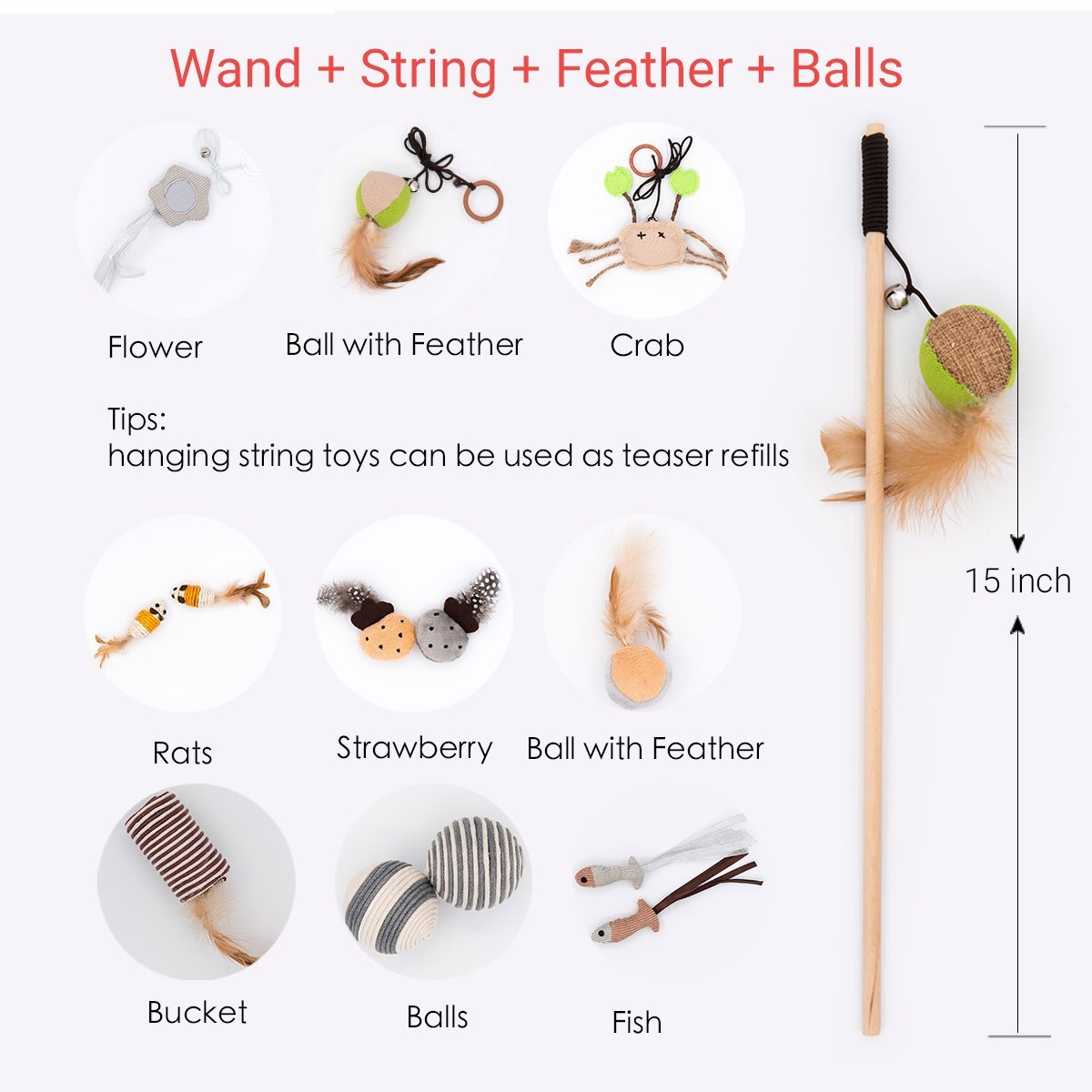 MorePets 14 Premium Natural Interactive Cat Toys Variety Pack Teaser Wand Toy Set Mouse Fish Feather by MorePets (Image #2)