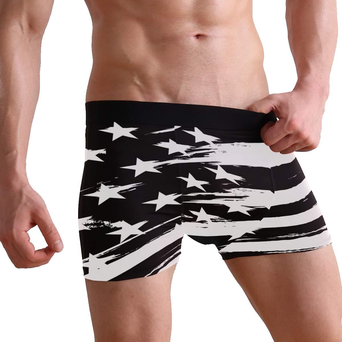 ZZKKO Retro American Flag Mens Boxer Briefs Underwear Breathable Stretch Boxer Trunk with Pouch S-XL