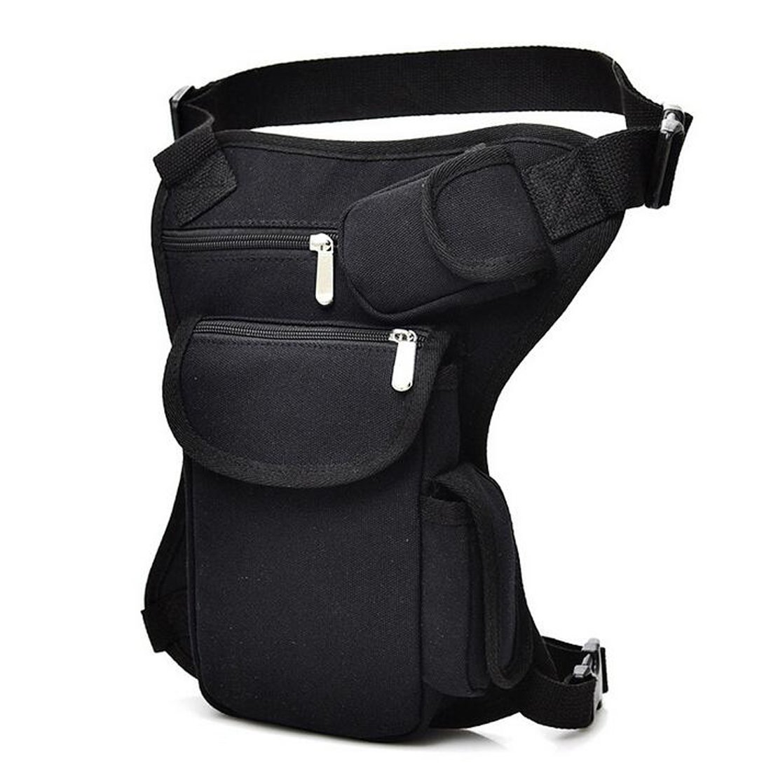 SEALINF Canvas Waist Bag Fanny Pack Racing Drop Leg Bag Motorcycle Outdoor Bag (black)