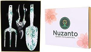 Nuzanto Ladies 3 Piece Floral Garden Tools Set Hand Gardening Tools Set,Garden Stuff Gifts Tool Kit for Women and Mon,Retirement Gardener Gifts Tool Kit