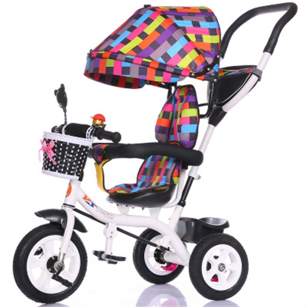 Lujo 4-en-1 Niño Triciclo Bicicleta Niño Bicicleta Chica de la bicicleta por 6 meses -6 Año Bebé Trolley de tres ruedas con Toldo y Manija para padres ...