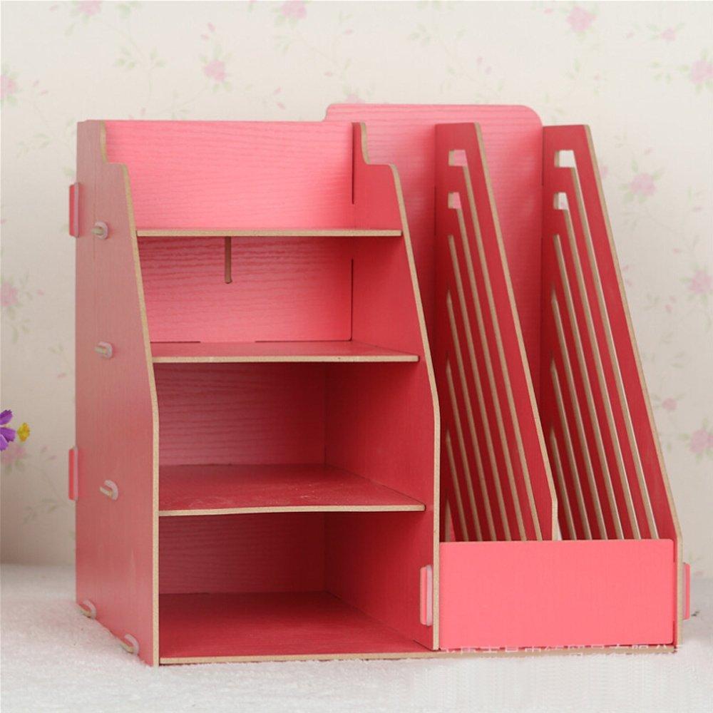 Hensych® Étagère Planche Organiseur de bureau en bois Boîtes de rangement 2 dossiers papier support/fentes pour Magazine et 4 compartiments bins- DIY bleu WD-DESTP-SHEV-BLU