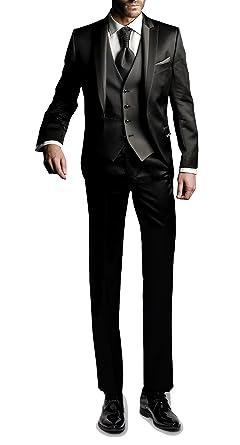 Suit Me Herren 3 Teilig Anzug Slim Fit Hochzeiten Party Smoking Anzuege Sakko,Streifen Weste,Hose Schwarz L