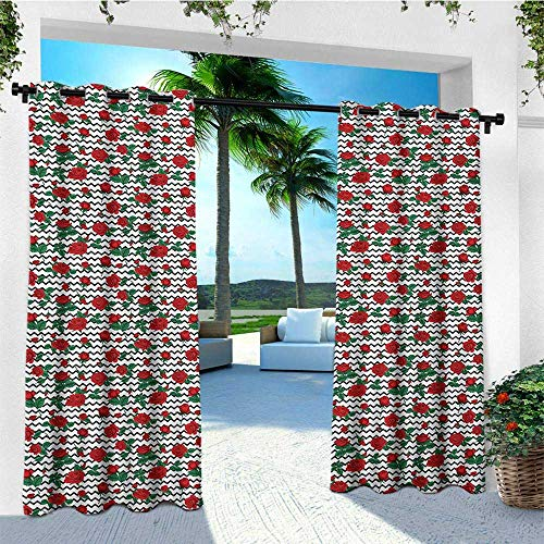 leinuoyi Rose, Outdoor Curtain Pair, Romantic Roses in Full Blossom on Monochrome Chevron Zig Zag Stripes, Fabric W84 x L108 Inch Vermilion Jade Green Black