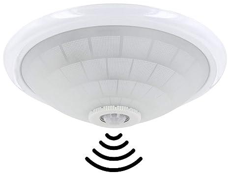 Plafón E27 con IR Detector de movimiento 360 ° y sensor crepuscular - Carcasa de Metal y Matte glasabdeckung - Max. 50 W: Amazon.es: Iluminación