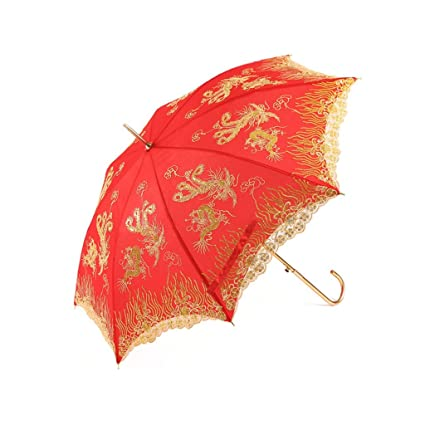 Paraguas Casarse con sombrilla roja Novia Rojo Casarse con sombrilla roja Boda Larga con la Mano