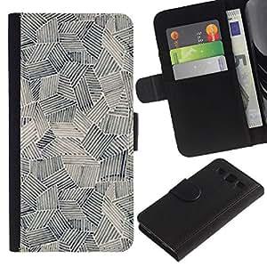 APlus Cases // Samsung Galaxy S3 III I9300 // Gráfico Arte Pintura Formas Negro Blanco // Cuero PU Delgado caso Billetera cubierta Shell Armor Funda Case Cover Wallet Credit Card