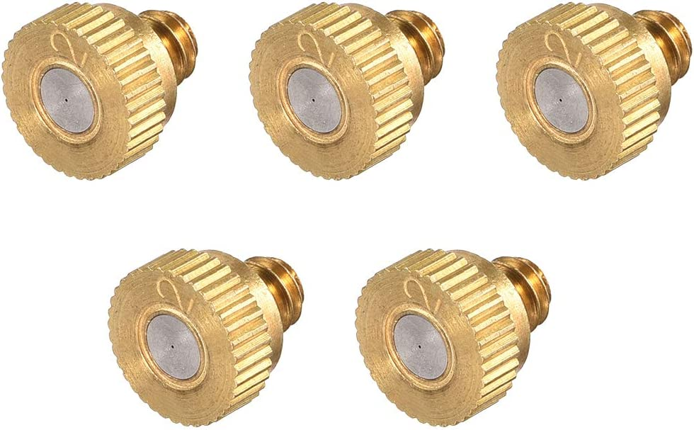 uxcell Brass Misting Nozzle - 10/24 UNC 0.2mm Orifice Dia Replacement Heads for Outdoor Cooling System - 5 Pcs