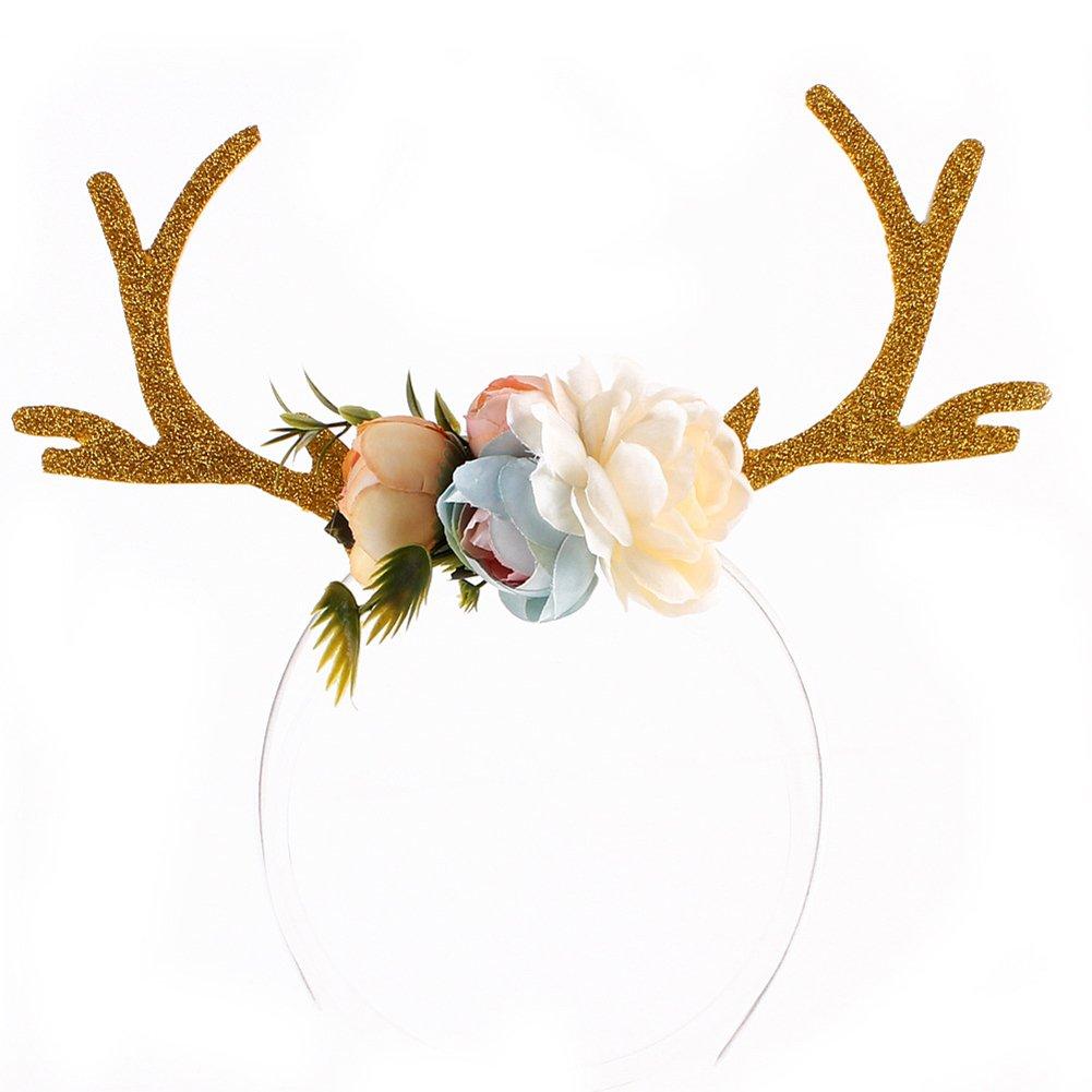 preliked Girls Deer Antlers Flower Headband Cosplay Costume Party Headdress Accessory (Khaki)