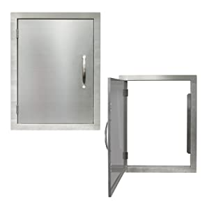 "Houseables BBQ Access Door, Stainless Steel, Vertical, Single, 17 x 24 Inch, Commercial Grade, 0.5"" Thick Frame, Patio Island Cabinet, Outdoor Barbecue Grill Kitchen, Flush Mount, Chrome Handle"
