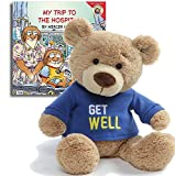 Gifts Made with Love Get Well Teddy Bear Plush(Blue), 12.5'' My Trip to the Hospital Book, The Perfect Feel Better Set