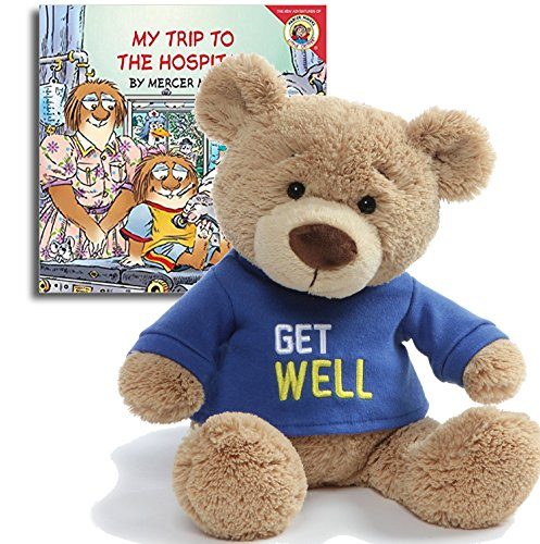 Gifts Made with Love Get Well Teddy Bear Plush(Blue), 12.5