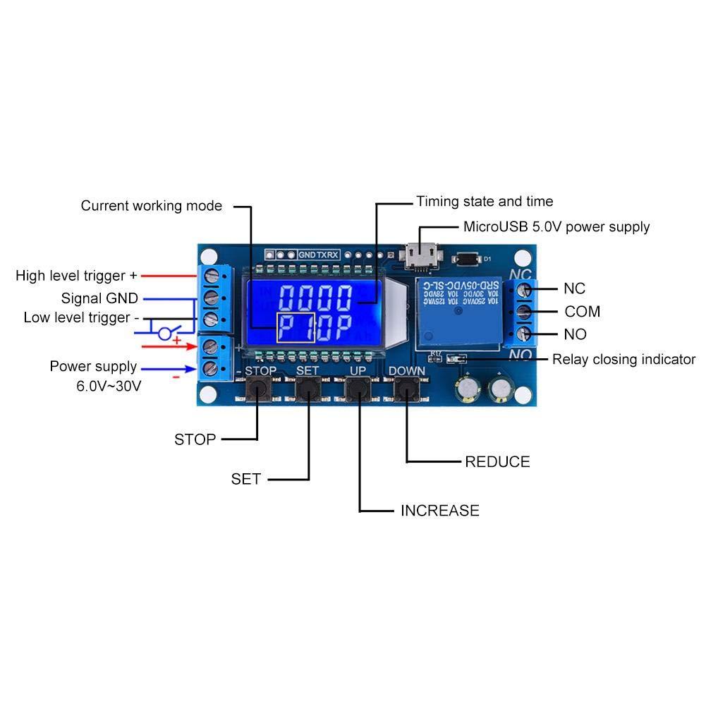 M/ódulo de rel/é de retardo 0.01s-9999min con pantalla LCD m/ódulo temporizador de ciclo de retardo de apagado de 5V 12V 24V m/ódulo de rel/é de retardo de tiempo