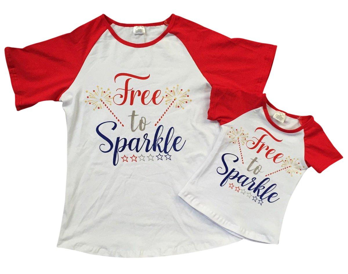 Toddler Girls Short Sleeve Free Sparkle Fireworks Raglan Summer Top T Shirt Tee White 2T XS (P501377P)