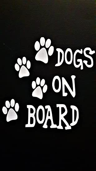 Dog On Board Paw Print Magnet Black and White 5 inch Decal for Car Truck SUV