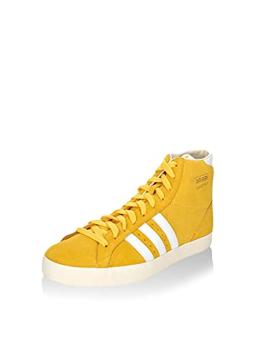 online retailer cc026 150cb adidas Originals Mens Basket Profi Yellow and White Crochet Sneakers ...