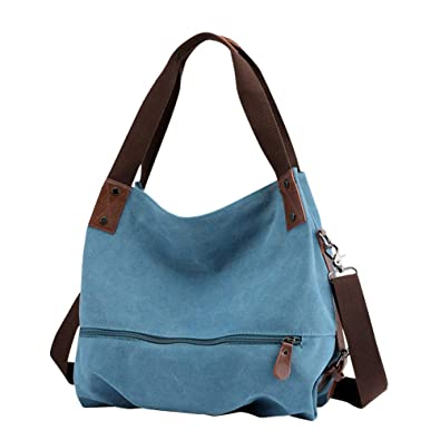 7eb7b19ca9a631 Gindoly Damen Canvas Handtasche Klein Vintage Shopper Schultertasche  Henkeltasche Hobo Tasche Beuteltasche Blau EINWEG