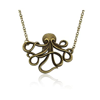 MANZHEN Simple Octopus Pendant Necklace Nautical Jewelry