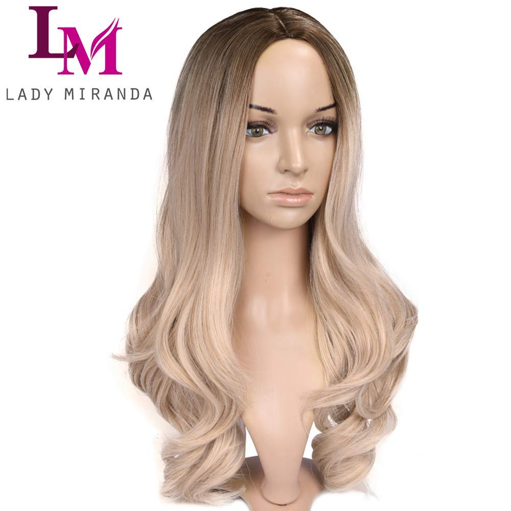 Ombre Wig, Brown To Ash Blonde Wig Weave Full Wigs For Women
