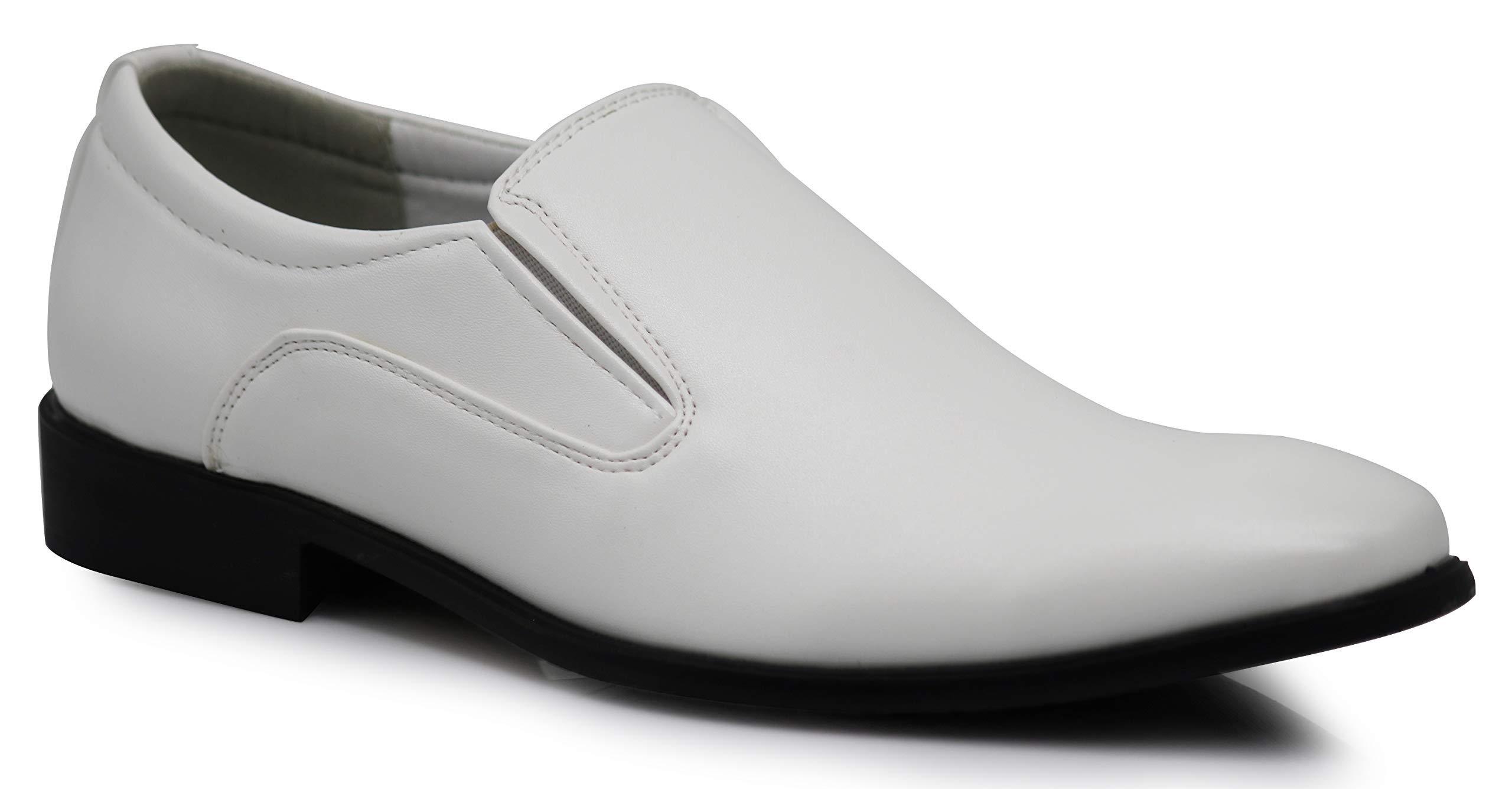 Enzo Romeo LK02 Men Dress Loafers Elastic Slip on Formal Round Toe Business Designer Shoes (10.5 D(M) US, White)
