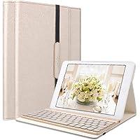 SENGBIRCH Tastatur Hülle Kompatibel iPad Air Case mit 7 Farbe Hintergrundbeleuchtung Ultra-dünn QWERTZ Bluetooth Tastatur und Auto Schlaf/Aufwach Funktion für Air 1, Gold