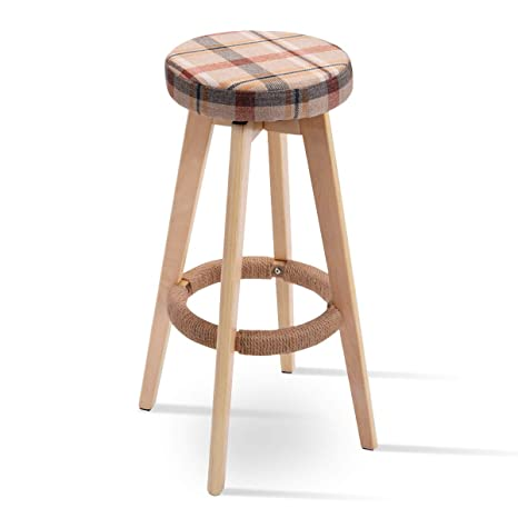 Incredible Costway 29 Winsome Round Wood Bar Stool Dining Chair Counter Height Linen Seat 1 Red Caraccident5 Cool Chair Designs And Ideas Caraccident5Info