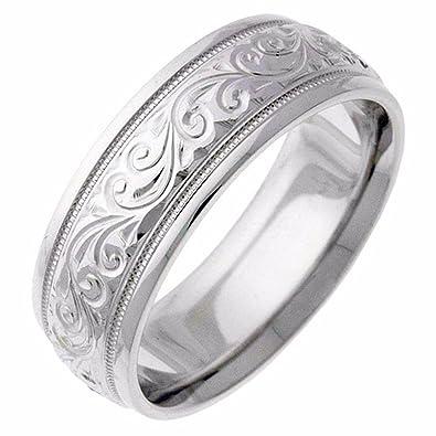 Amazon Com Engraved Silver Paisley Swirl Wedding Band Ring Jewelry