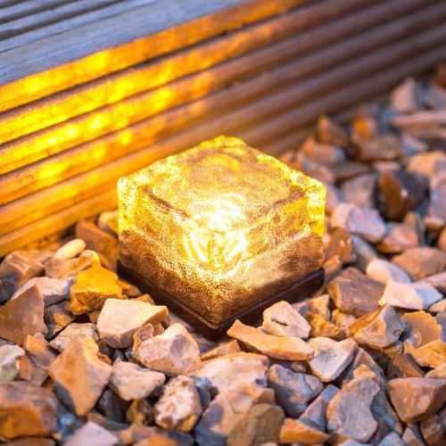 3er Set LED Solar Glas Pflastersteine Wegbeleuchtung warmweiß klein Lights4fun