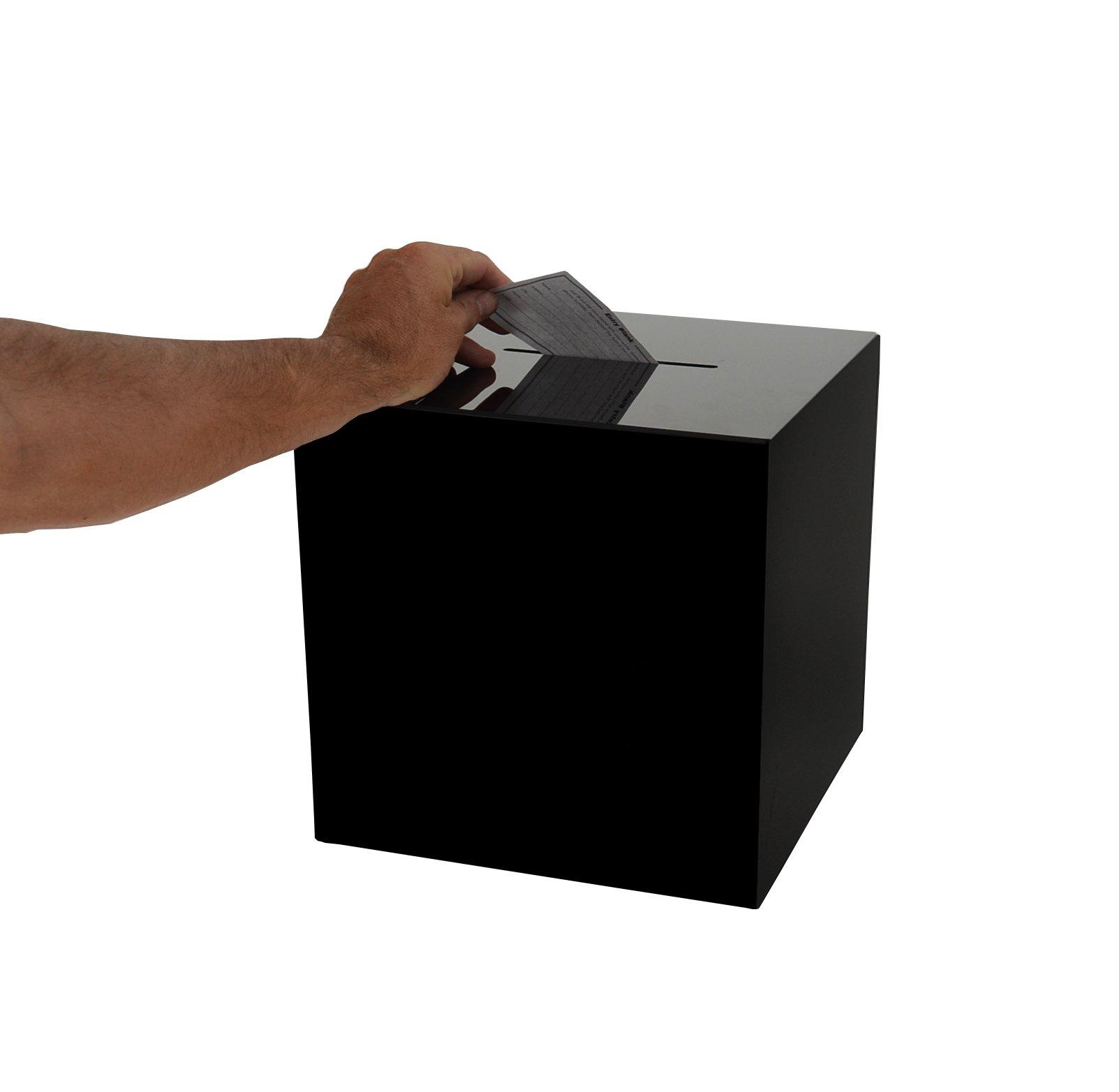 Marketing Holders Acrylic Locking Ballot/Suggestion Box 11 x 11 x 11 (Black)