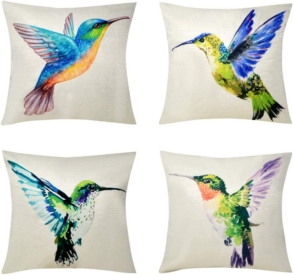 Bublanwo Watercolor Hummingbirds Pillow Covers Colorful Birds Painting Spring Patio for Furniture Cushion Cases Outdoor Decorative Couch Pillows Home Décor for Bed Sofa 18x18 Set of 4