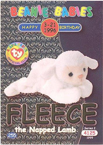 TY Beanie Babies BBOC Card - Series 2 Birthday (GOLD) - FLEECE the Napped - Babies Fleece Ty Beanie