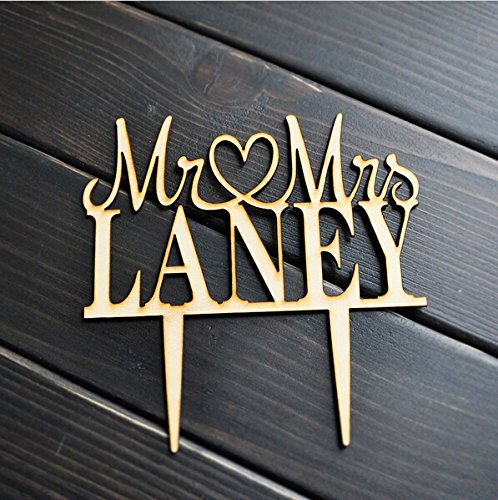 Custom Personalized Wood Wedding Cake Topper with Your Last Name
