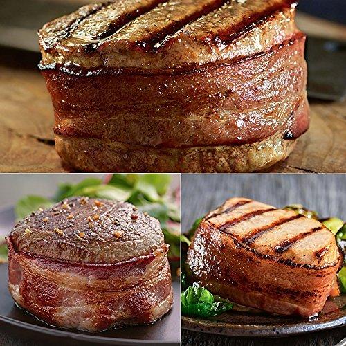(Bacon Wrapped Trio - 4 (6 oz) Super Trimmed Filet Mignon with Hickory Bacon, 4 (6 oz) Top Sirloin with Hickory Bacon and 6 (7 oz) Boneless Pork Chops with Hickory Bacon)