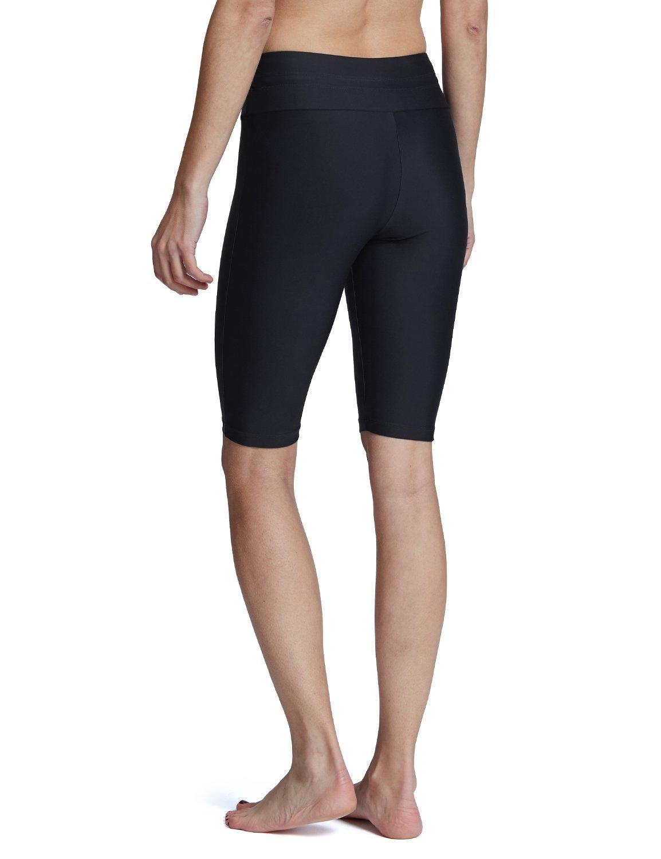 Baleaf Women's Long Board Shorts High Waisted Swim Shorts Sun Protection Bikini Bottom Black Size XL by Baleaf (Image #4)
