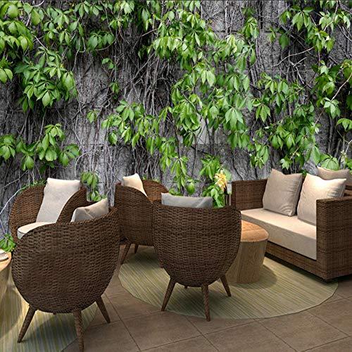 Lifme Restaurant Coffee Clubs Ktv Bar 3D Wallpaper Boston Ivy Nature Mural Modern Plant Fiber Wallpaper Roll Mural 3D ()