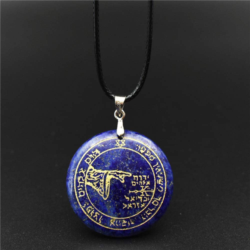TUDUDU Colgante De Amuleto De Salomón Grabado De Piedra De Cristal Natural De 30Mm, Collar Ajustable De Runas De Aura De Círculo Mágico De Salomón