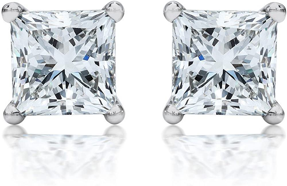 1/3 Carat Solitaire Diamond Stud Earrings Princess Cut 4 Prong Push Back (I-J Color, VS1-VS2 Clarity)
