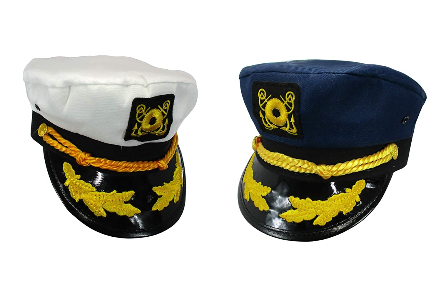 Nicky Bigs Novelties Sailor Ship Yacht Boat Captain Hat Navy Marines Admiral Blue White Gold 2 Pack