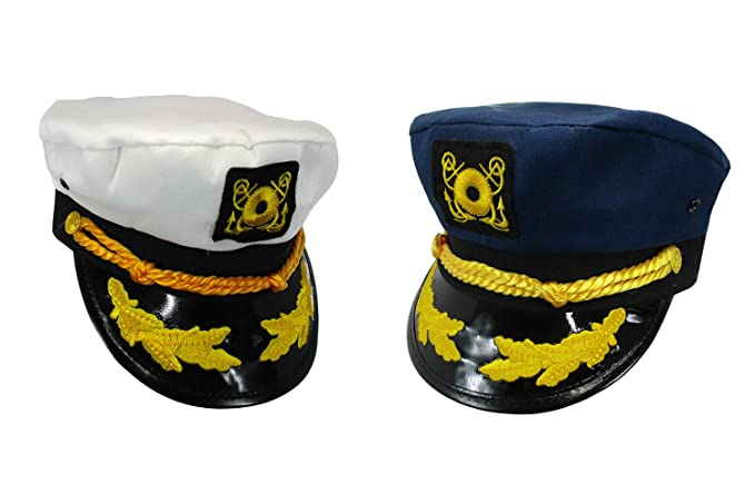 623ea8b161c Amazon.com  Nicky Bigs Novelties Sailor Ship Yacht Boat Captain Hat Navy  Marines Admiral Blue White Gold 2 Pack  Clothing