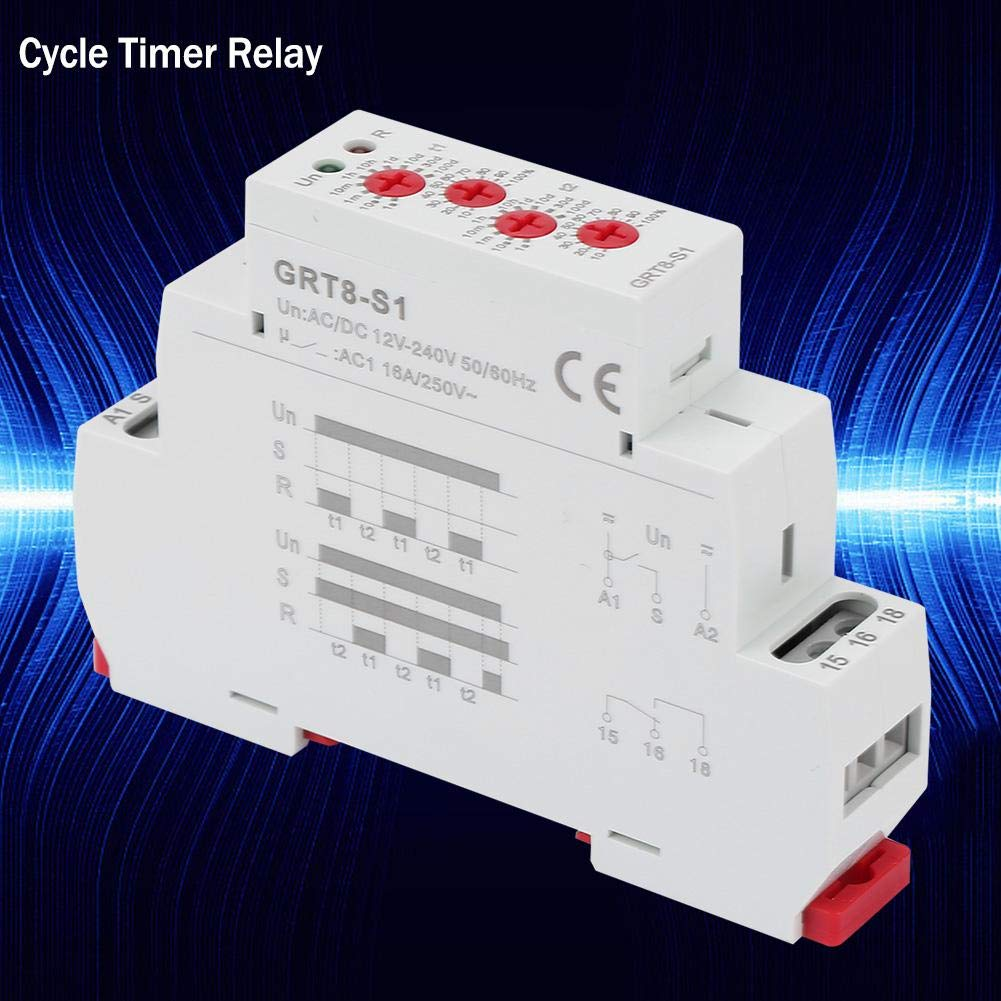 GRT8-S1 Mini relais temporis/é /à cycle asym/étrique AC//DC 12-240V 35mm Rail DIN Marche//Arr/êt Interrupteur de relais /à retard de r/ép/étition pour retard de cycle fournissant une mise sous tension p/ériod