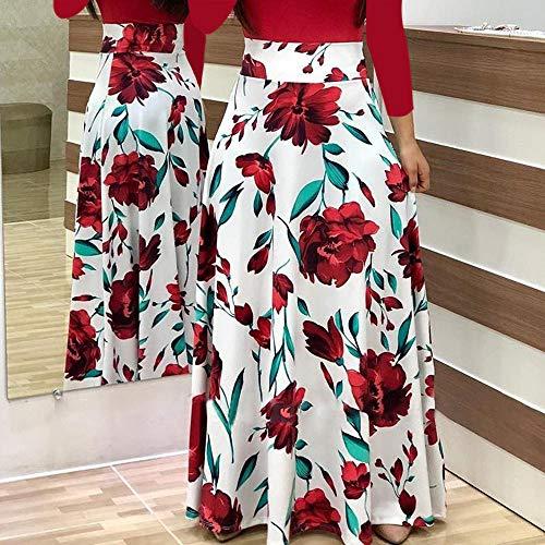 Fanyunhan Women Fashion Long Sleeve Floral Boho Dress Print Long Maxi Dress Ladies Casual Dress Red by Fanyunhan Dress (Image #1)