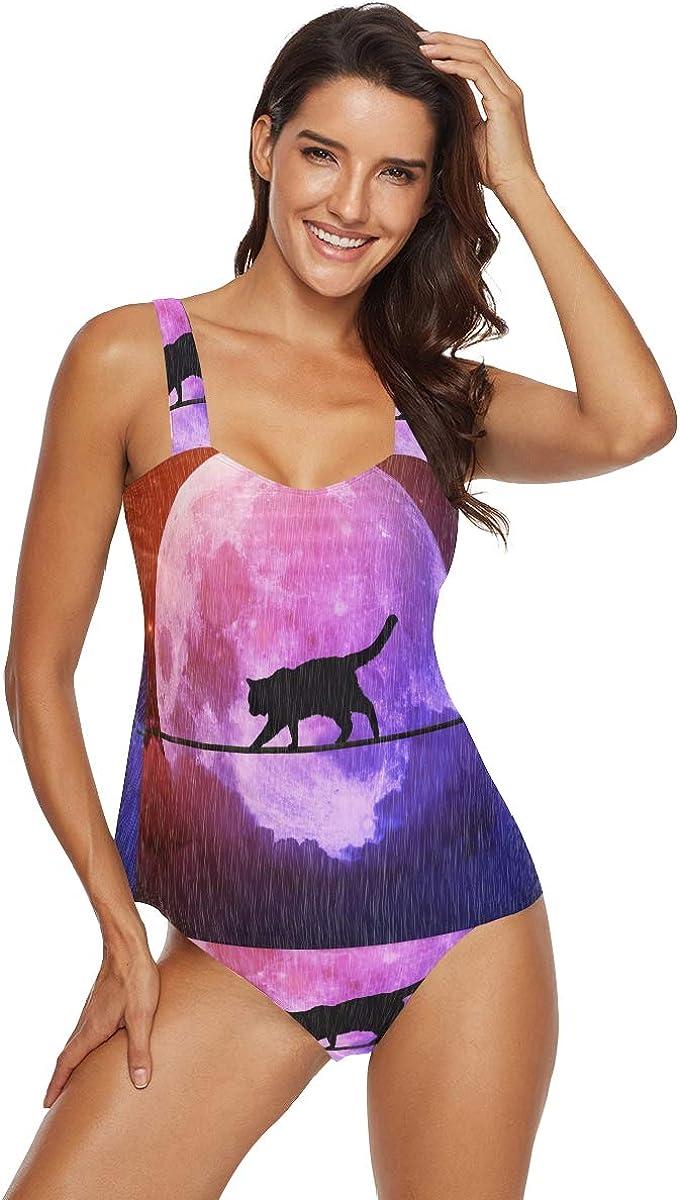 Set di tankini da donna nero gatto luna pioggia notte buia 2 pezzi costume da bagno bikini set costume da bagno