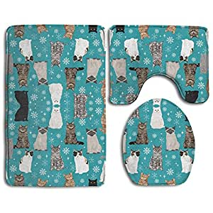 Snowflake Cat Christmas 3 Piece Bathroom Rug Set Bath Rug, Contour Mat, & Lid Cover Non-Slip With Rubber Backing