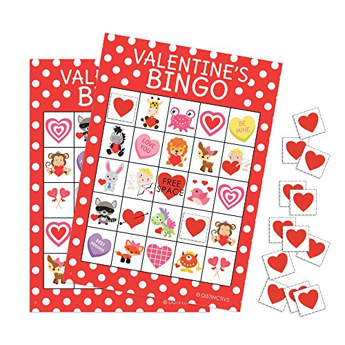 Valentine's Day picture bingo game for kids - Valentine's Day Bingo Game Party Activity - 16 Player Cards