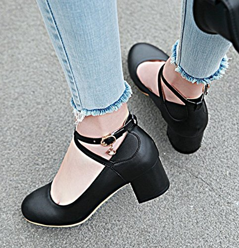 Aisun Womens Round Toe Pumps With Ankle Strap - Comfort Buckled Block - Low Cut Medium Heel Black 46Swayb