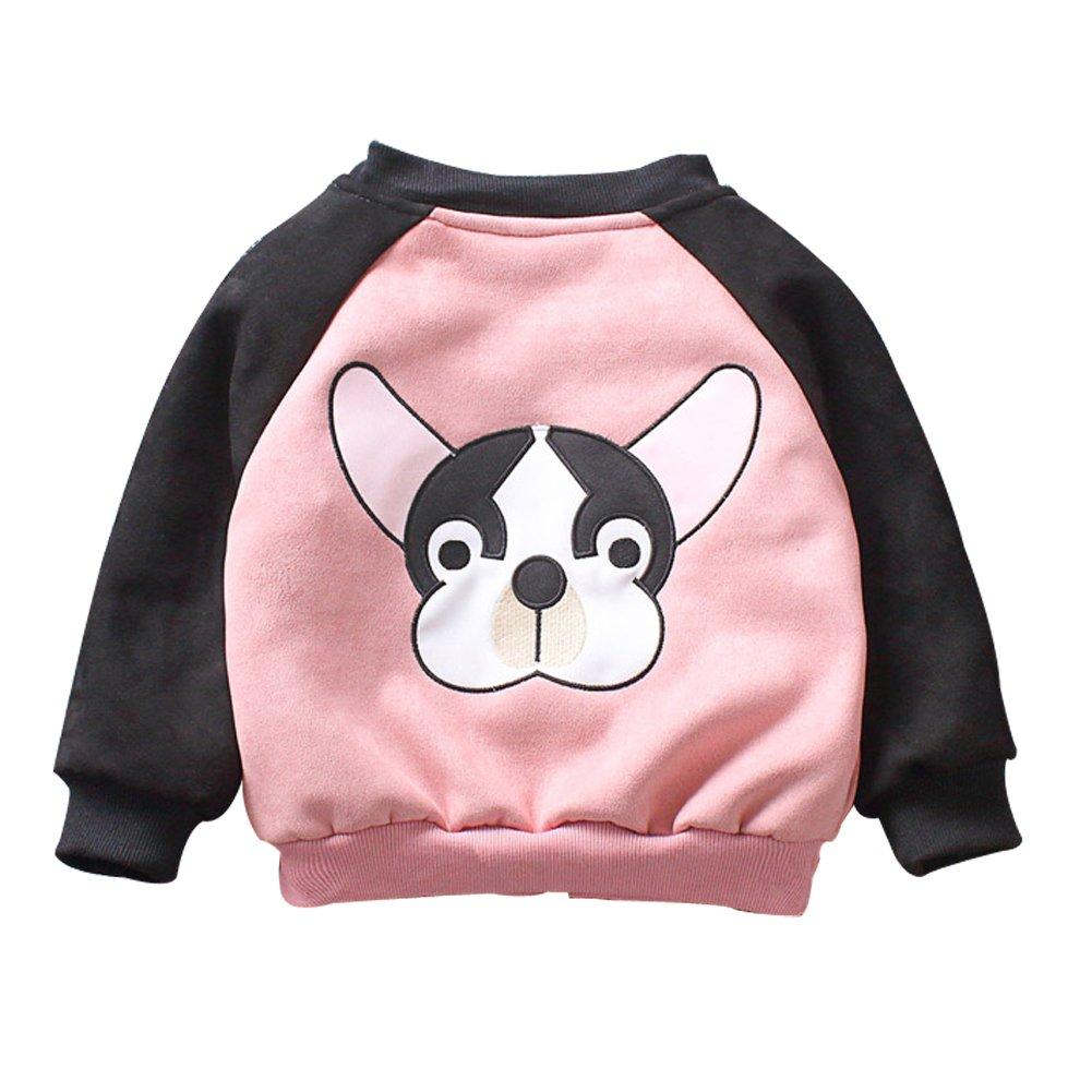 LINGGO Unisex Kids' Funy Zip-Up Suede Cartoon Dog Comfortable Breathe Perspiration Jaket Sport Outerdoor Coat 2 Color